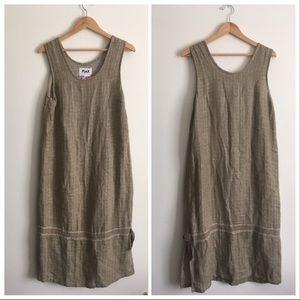 Flax   Tan Linen Midi Sleeveless Dress Small